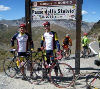 Bill Ale (L) and friend cycling in the Italian Alps—9/08