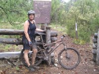 Susan Georgia mountain bikes the Grand Canyon rim—2008