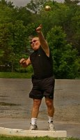 Marc Sokolik gives his all as he puts the shot—5/08