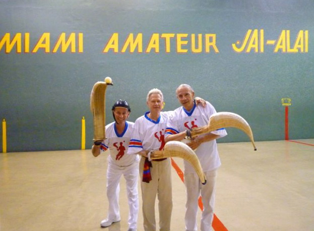 Rudy Kellerman (center) with jai-alai friends—10/09