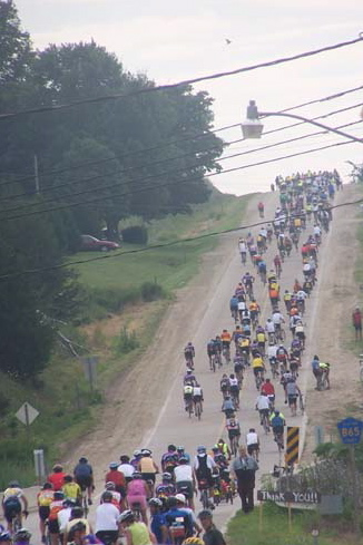 Hill on the RAGBRAI out of St. Olaf, Iowa—