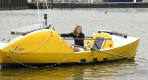 Katie Spotz in her boat that she rowed across the Atlantic