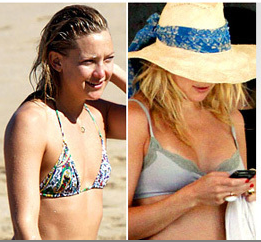 two shots of Kate Hudson, 2009 (left) and 2010
