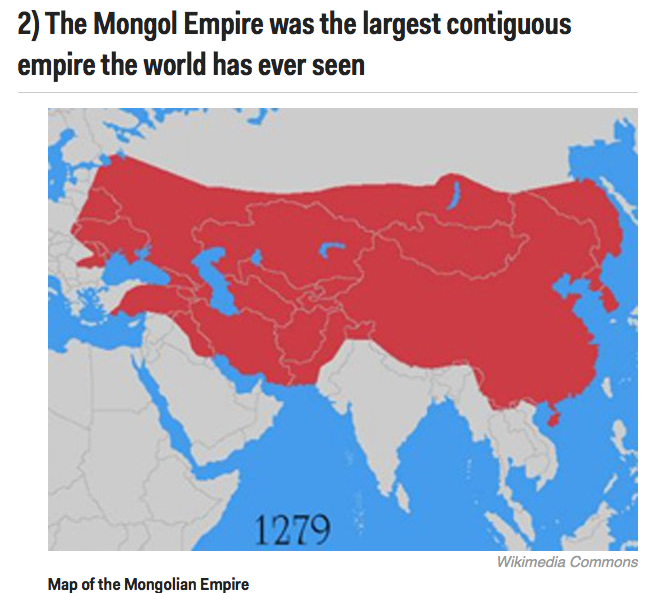 over five times the size of the Roman Empire