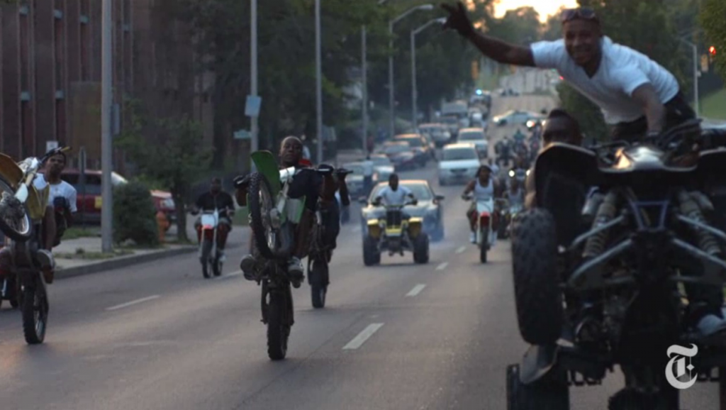 an illegal  wheelie adrenaline rush in Baltimore City