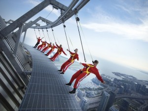 standing on the Edgewalk in Toronto