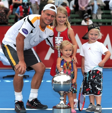 Lleyton and his three girls at an earlier tournament.