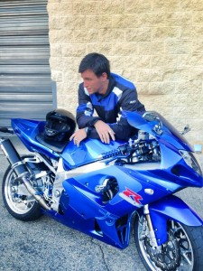 Jason Doornick with another of his superfast motorcycles