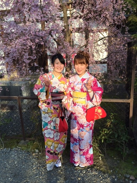 dressing in kimonos is common in Kyoto