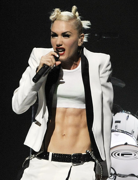 Rock star Gwen Stefani is a 40-year-old mother of two who has the rare six-pack not usually seen on female celebrities