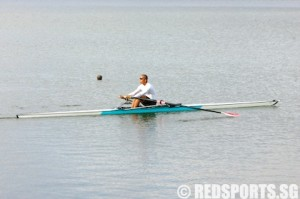 before the stroke with seat near feet—notice legs bent before pulling the oars