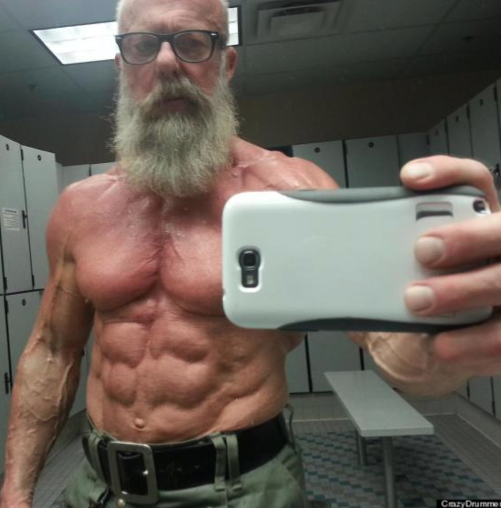 Check out the abs on this 60-year-old who is called CrazyDrummer