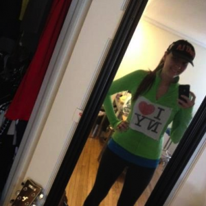 T.J. before running her first-ever marathon in New York—11/2012