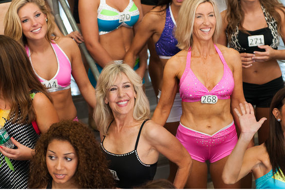 Sharon Simmons in pink (rt) trying out for the Dallas Cowboys cheerleading squad...at age 55