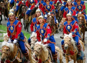 soldiers participate in the opening ceremony in Ulaan Bataar