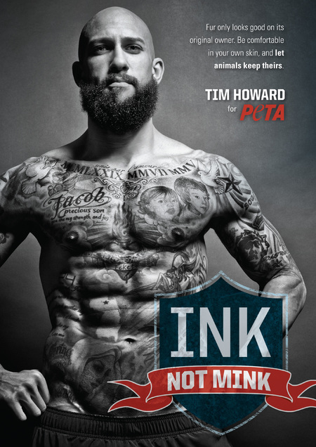 Tim Howard's abs and tats revealed for PETA